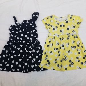 Navy Blue White Heart & Yellow Floral Dresses